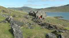 Greenland Hvalsey Nordic church ruin & people 5 Stock Footage
