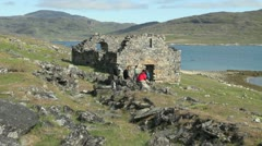 Greenland Hvalsey Nordic church ruin & people Stock Footage