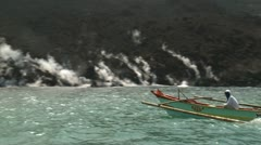 Boat Sails Close To Active Lava Flow Stock Footage