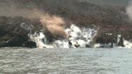 Stock Video Footage of Lava Flow Water Sea Entry Explosive Activity Anak Krakatau Volcano