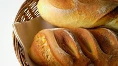 Durum wheat bred rolls in basket Stock Footage