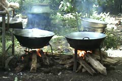 Boiling water in pan Stock Footage
