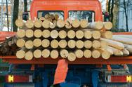 Stock Photo of small truck transporting wood