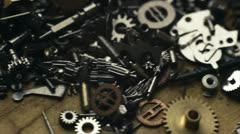 Small mechanical gears Stock Footage
