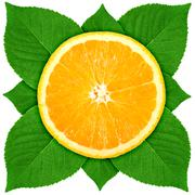Single cross section of orange with green leaf Stock Photos