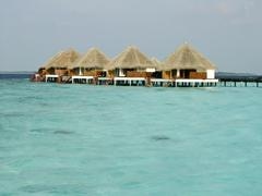 Stock Photo of Tropical beach and Cabanas on Maldives Island