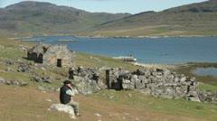 Greenland Hvalsey Nordic church ruin 13 Stock Footage
