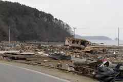 Japan Tsunami Coastal Wreckage Stock Photos