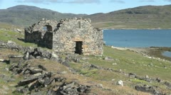 Greenland Hvalsey Norse church ruin distant Stock Footage