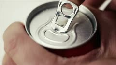 Opening can with a drink - stock footage
