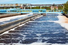 Water treatment tank with waste water with aeration process Stock Photos