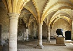 Medieval kitchen with cauldron Stock Photos