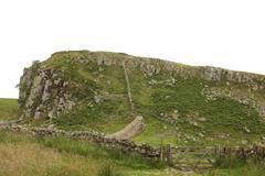 walking path near hadrian's wall - stock photo