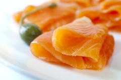 smoked salmon - stock photo