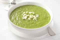 fresh green pea soup - stock photo