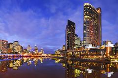 melbourbe skyline and yarra river at twilight square - stock photo