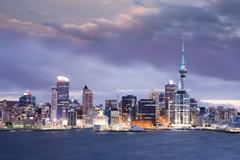 new zealand auckland skyline twilight dramatic sky - stock photo