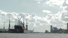 Cargo ship in Hamburg port. Stock Footage