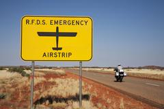 Stock Photo of royal flying doctor sign outback australia