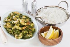 prawn saag indian curry with basmati rice - stock photo