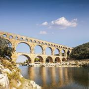 Pont du gard roman aquaduct languedoc-roussillon france Stock Photos