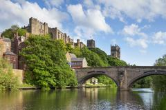 durham castle and cathedral framwellgate bridge england - stock photo