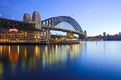 sydney harbour bridge australia twilight - stock photo