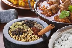 indian food and spices - stock photo