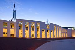 Canberra parliament house at twilight Stock Photos