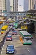 Hong kong rush hour traffic in connaught road Stock Photos
