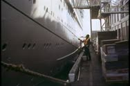 Stock Video Footage of Ship, Ocean liner, Island Princess, The Love Boat, workman painting the hull