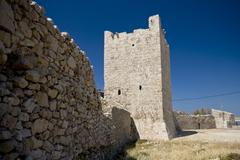 Tower and the stonewall in Razanac Stock Photos
