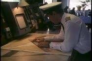 Island Princess, The Love Boat, cruise ship bridge, navigator and charts Stock Footage