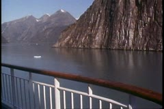 Island Princess, Love Boat, POV from deck, Alaska, Inside Passage Stock Footage