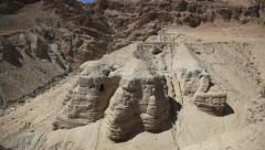 Qumran caves where Dead Sea Scrolls were found Stock Footage