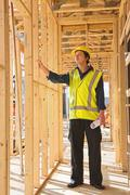 Stock Photo of young  man at the construction  site