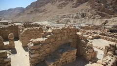 Khirbet Qumran near the caves where Dead Sea Scrolls were found - stock footage