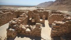 Khirbet Qumran near the caves where Dead Sea Scrolls were found Stock Footage