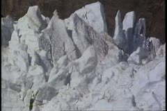 POV passing tops of the snow formations, close up, detail shot Stock Footage