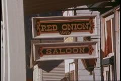 "Skagway, Alaska, Main Street, ""Red Onion"" bar sign Stock Footage"