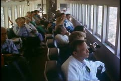 White Pass & Yukon Railroad, Alaska, crowd in the coach watching scenery Stock Footage