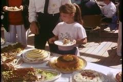 Lavish Desert Buffet, young girl at buffet, Alaska Cruise, Island Princess Stock Footage