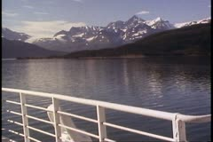 College Fjord, Alaska, rails of ship, POV, mountains and sea, classic - stock footage