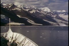 College Fjord, Alaska, POV bow, tilt up, mountains and sea Stock Footage