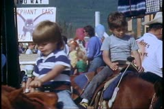 Alaska State Fair, close up of pony ride, Palmer, Alaska Stock Footage