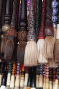 Asian calligraphy brushes - stock photo