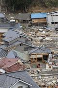 Neighborhood Destroyed-Japan Tsunami Stock Photos