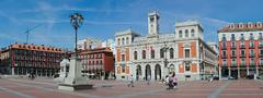 Plaza mayor and the city hall of valladolid Stock Photos