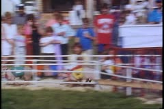 Racing Pigs, race around the track, Alaska State Fair, Palmer, Alaska Stock Footage