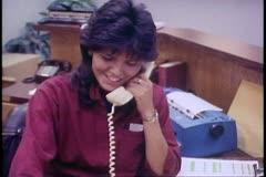 Fairbanks, Alaska, Native corporation, Douyon Ltd, offices, woman phone - stock footage